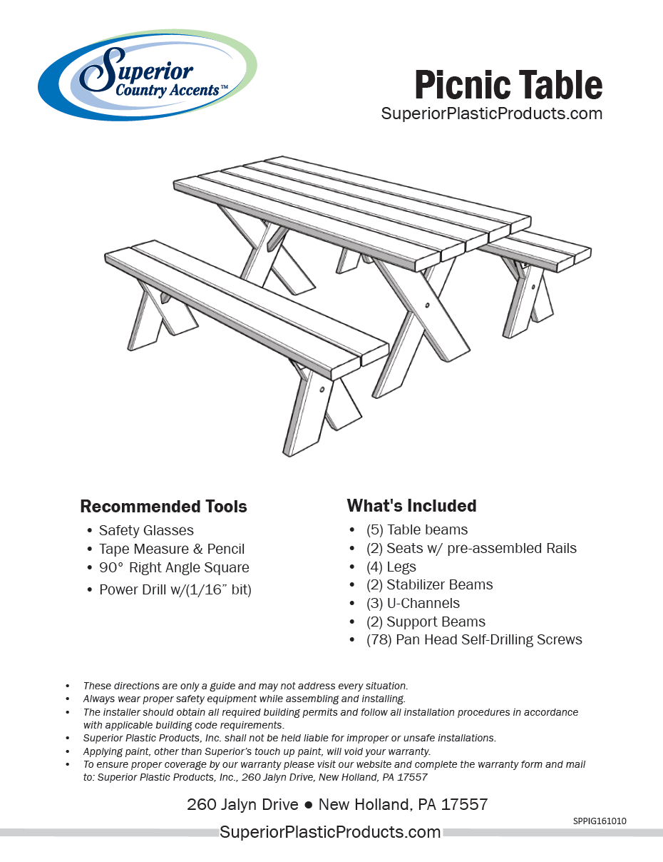 High Quality Vinyl Picnic Tables Superior Plactic Products - Picnic table leg angle