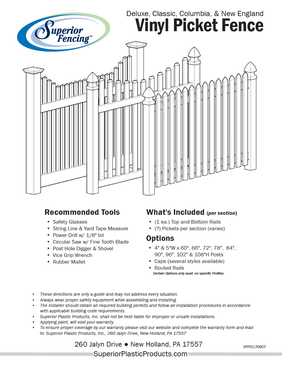 Deluxe vinyl picket fence superior plastic products