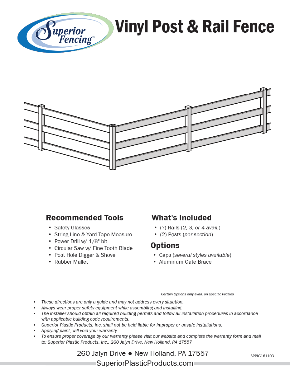 Low maintenance 2 rail vinyl fence superior plastic products for Fence installation tips