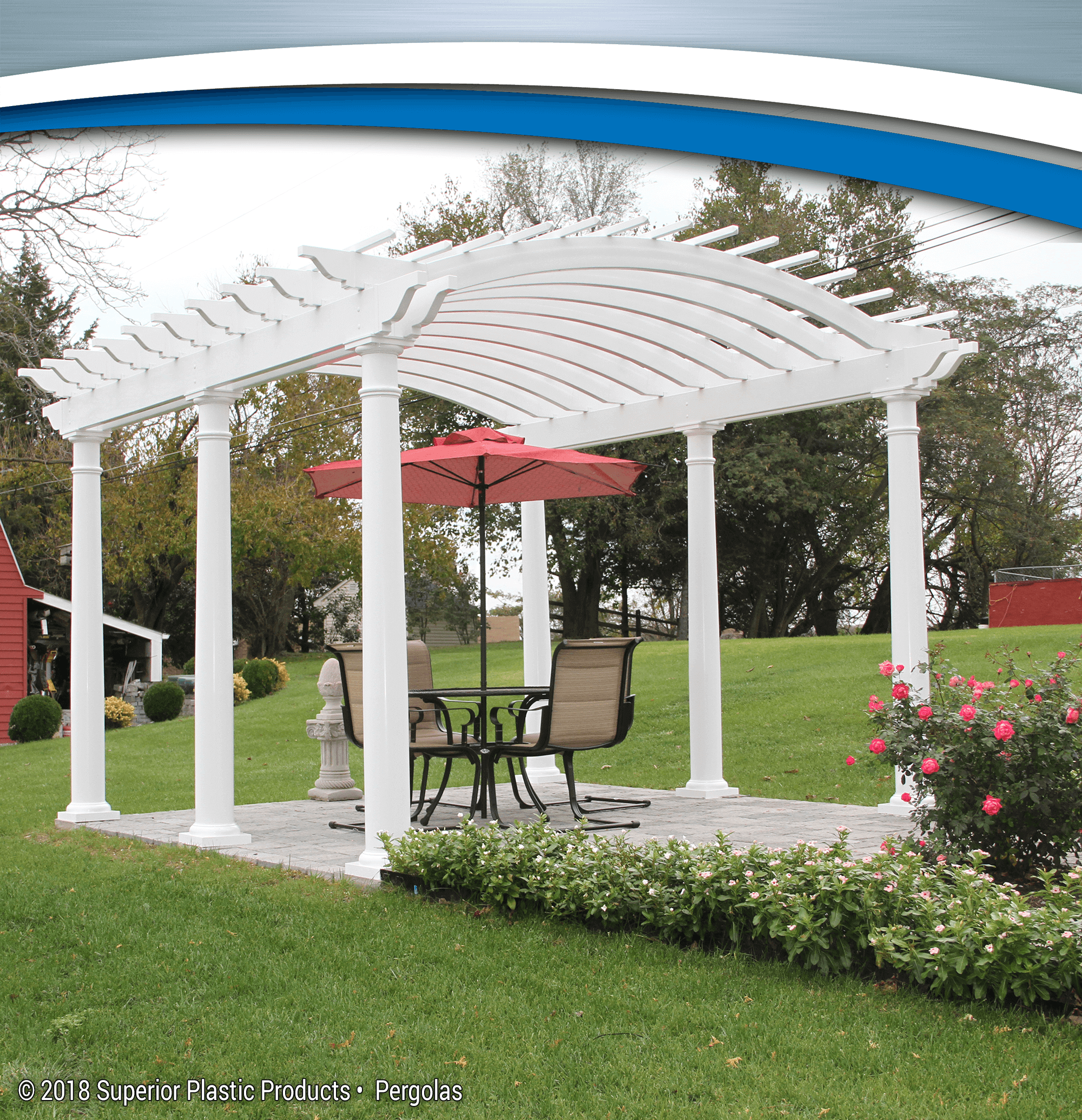 aluminum and vinyl pergolas superior plastic products. Black Bedroom Furniture Sets. Home Design Ideas