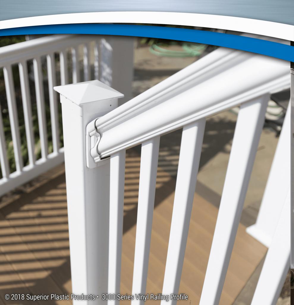 Vinyl railing profiles superior plastic products inc for Vinyl decking materials