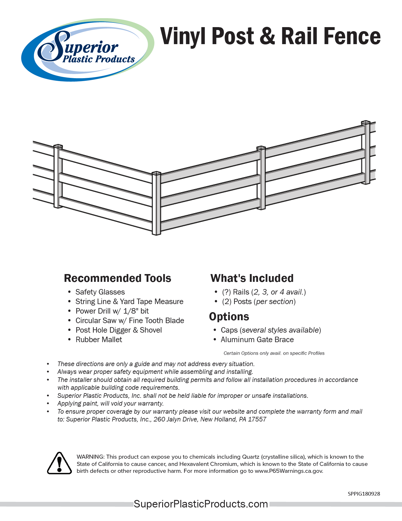 Low-Maintenance 4 Rail Vinyl Fence - Superior Plastic Products