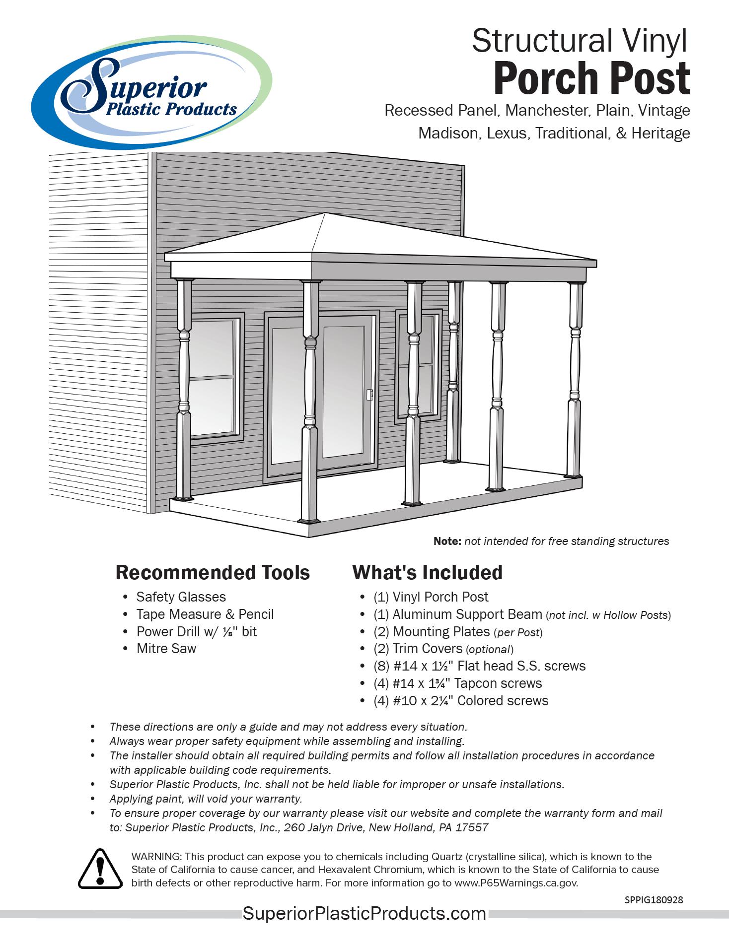 Structural Vinyl Porch Posts - Superior Plastic Products